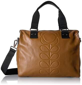 Orla Kiely Women's Embossed Flower Stem Leather Zip Messenger