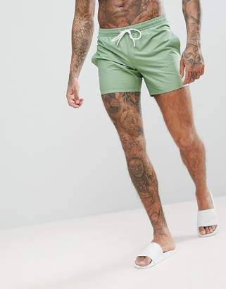 Lacoste Solid Logo Swim Shorts in Green