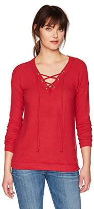 Michael Stars Women's Madison Brushed Jersey Long Sleeve V-Neck Lace-up Top