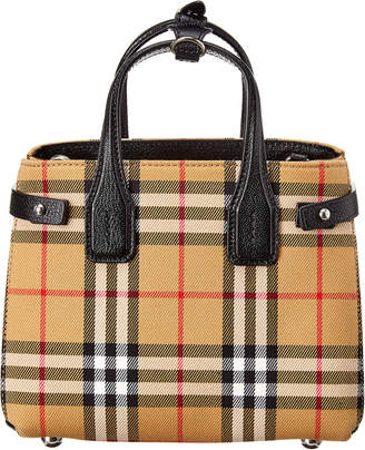 Burberry Baby Banner Vintage Check & Leather Shoulder Bag