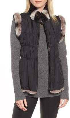 Linda Richards Reversible Genuine Rabbit Fur & Ruched Silk Vest with Knit Back