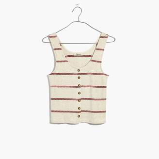 Madewell Ribbed Button-Front Tank Top in Stripe