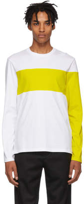 Helmut Lang White and Yellow Logo Band Long Sleeve T-Shirt