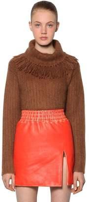 Miu Miu Fringed Collar Brushed Mohair Sweater