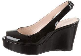 Stuart Weitzman Patent Leather Slingback Wedges