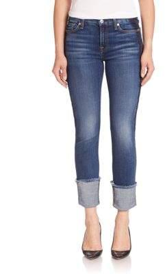 7 For All Mankind Fashion Boyfriend Cuffed Jeans With Shadow Tux Stripe