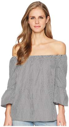 London Times Gingham Off Shoulder Bell Sleeve Women's Clothing