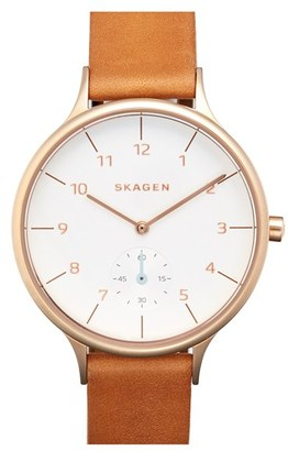 Skagen 'Anita' Leather Strap Watch, 34mm $155 thestylecure.com