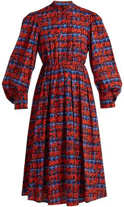 MSGM Graffitied tartan-print cotton dress