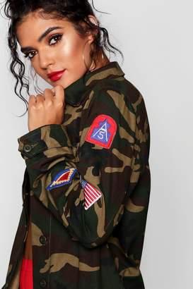 boohoo Camo Badge Utility Jacket