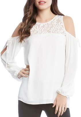 Karen Kane Lace-Yoke Cold-Shoulder Top - 100% Exclusive
