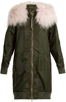Mr & Mrs Italy Mongolian-fur trimmed long-line bomber jacket