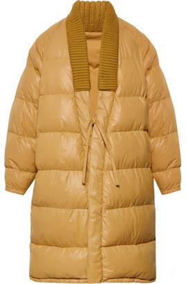 Visvim Yukata Oversized Wool-Trimmed Quilted Nylon Down Coat - Mustard