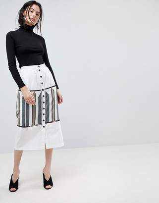 Asos Design DESIGN midi skirt with button front and stripe detail