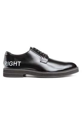 H&M Derby Shoes with Printed Text - Black - Men