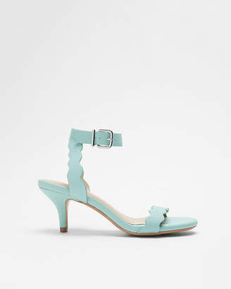 Express Round Toe Scalloped Kitten Heeled Sandal