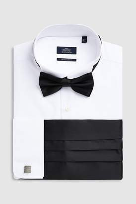 e4fa8ce3a Next Mens White Regular Fit Double Cuff Wing Collared Shirt With Bow Tie
