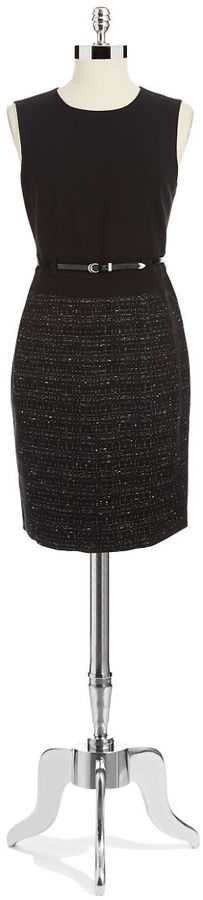 Calvin Klein Sleeveless Tweed Dress With Belt