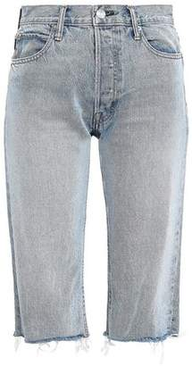 Helmut Lang Frayed Cropped High-rise Straight-leg Jeans