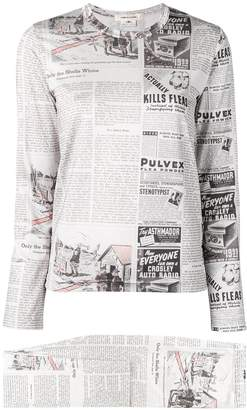 Comme des Garcons newspaper print two-piece set