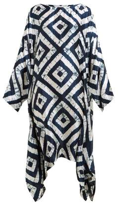 eskandar Expanding Squares Shibori Dyed Silk Dress - Womens - Navy White