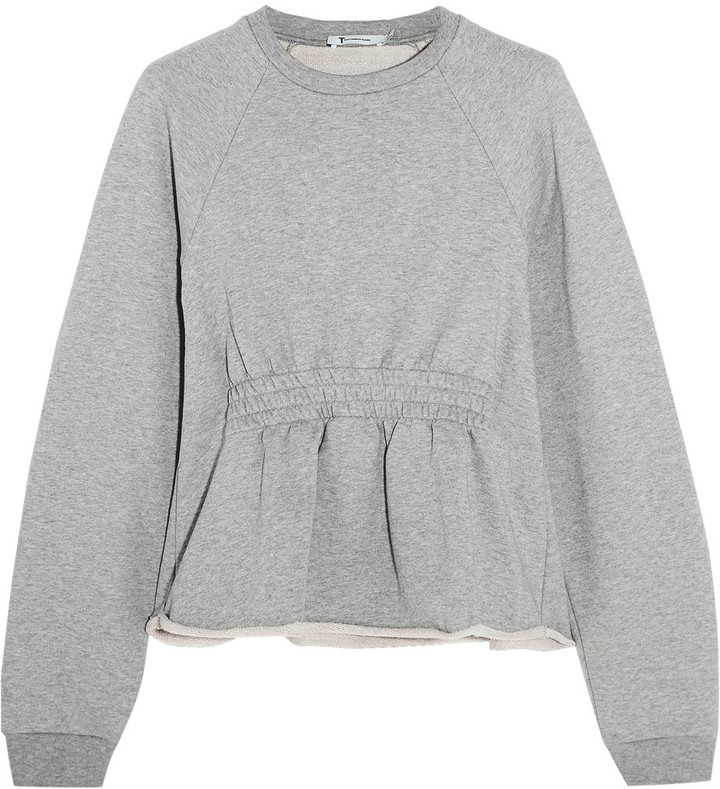 Alexander Wang T by Alexander Wang Cotton-terry peplum sweatshirt