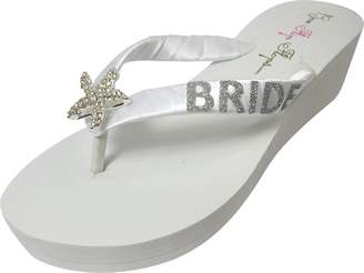 6d283004ad97 Bow Flip Flops White 2 inch Starfish Glitter Wedding Flip Flops for The Bride  Wedge Bridal