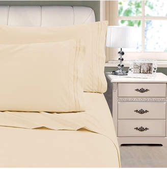 Cathay Home Inc. 3-Line Stripe Embroidery 4-Pc. Full Sheet Set Bedding