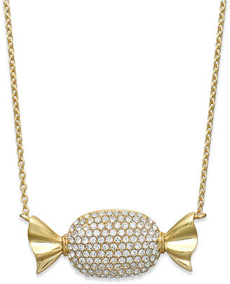 clear Sis by Simone I Smith 18k Gold over Sterling Silver Necklace, Crystal Candy Pendant