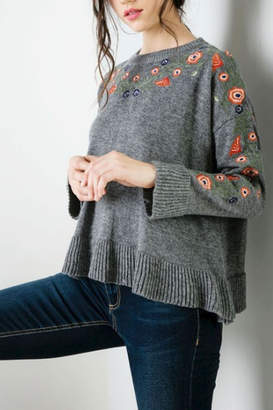 THML Clothing Floral Flared Sweater