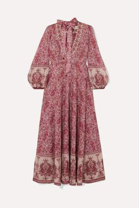 Zimmermann Amari Paisley-print Cotton-voile Maxi Dress - Magenta
