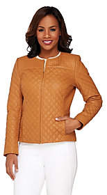 Isaac Mizrahi Live! Quilted Leather Zip FrontJacket