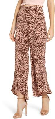 4SI3NNA the Label Animal Print High/Low Hem Pants