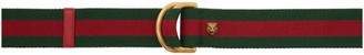 Gucci Red and Green Web D-Ring Belt