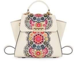 Zac Posen Leather Floral Applique Satchel Backpack