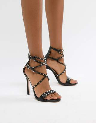 fed6fe9a12f5 Public Desire Amore black studded heeled sandal