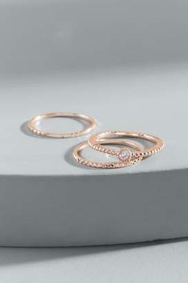 francesca's Heather Delicate Cubic Zirconia Ring Set - Rose/Gold
