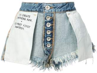 Unravel Project inside-out denim shorts