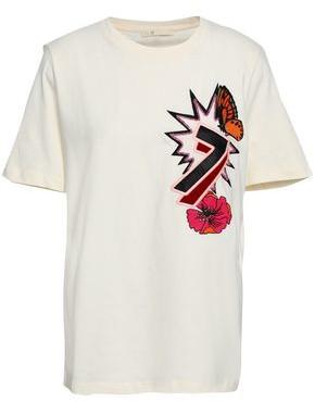 Maje Embellished Cotton-jersey T-shirt