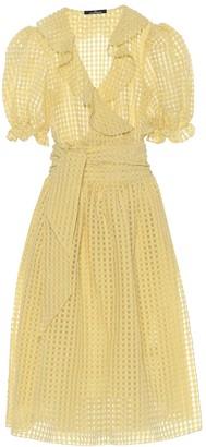 Rokh Checked cotton-blend midi dress