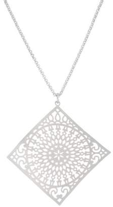 Xo X & O Silver Plated 45mm x 45mm Stamped Sunlight Pattern Curved Diamond Shape Pendant Necklace