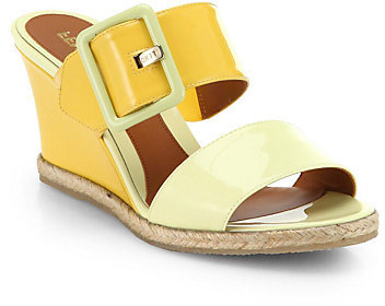 Fendi Patent Leather Double-Strap Wedge Sandals