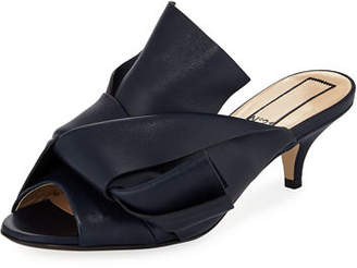 No.21 No. 21 Pleated Leather Low-Heel Slide Sandal
