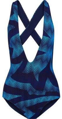 Missoni Open-Back Metallic Crochet-Knit Swimsuit