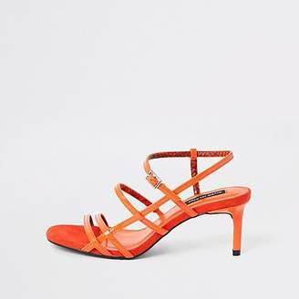 River Island Orange caged skinny heel sandals
