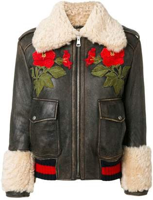 Gucci embroidered shearling lined bomber jacket