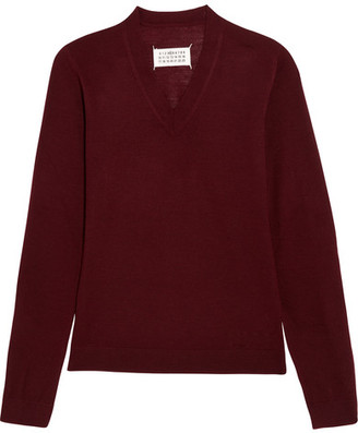 Maison Margiela - Suede-paneled Wool Sweater - Burgundy $495 thestylecure.com
