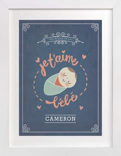 Je T'aime Bebe Nursery Custom Art Print