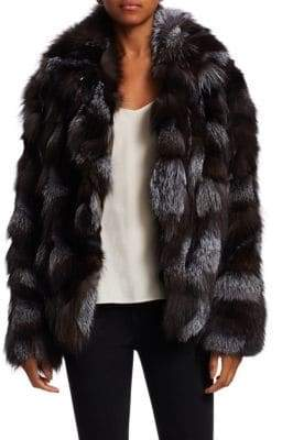 Halston Dyed Fox Fur Patched Jacket