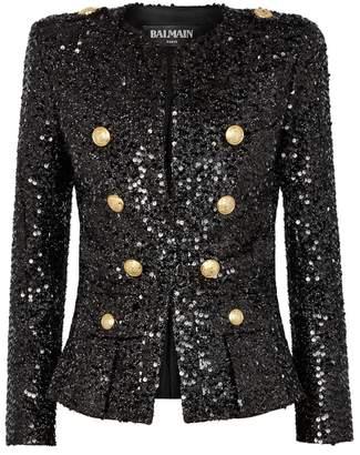 Balmain Black Sequinned Blazer